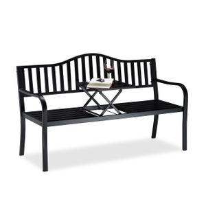 relaxdays Gartenbank mit ausklappbarem Tisch