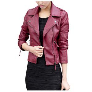 Trendy Damen Leder Reißverschluss Jacke Slim Biker Motorrad Mantel Punk Outwear Größe:L,Farbe:Kupfer