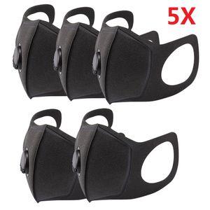 5X wiederverwendbare Masken Mundmaske Schwammmaske mit 1 Atemventil Waschbare staubdichte Gesichtsmundabdeckung【 schwarz】
