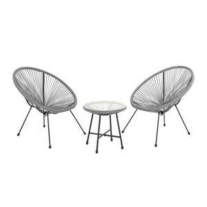 SVITA BALI Balkon-Möbel 3-tlg. Polyrattan Lounge-Set Balkon-Set Grau