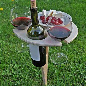 Klappbarer Weintisch, Tragbarer Holz Picknicktisch, Klappbarer Weinglasregal Weinhalter für den Außenbereich(Holzfarbe)