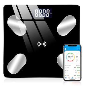 8 in1 Digitalwaage Körperwaage Personenwaage Körperfettwaage  bis 180KG USB Bluetooth LCD Schwarz