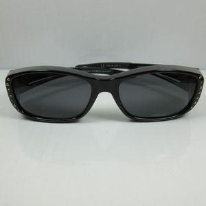 Damen Überbrille schwarz Sonnenbrille für Brillenträger UV 400 CAT3 polarisierend
