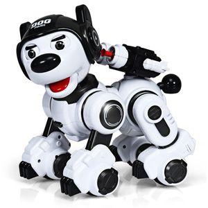 COSTWAY RC Interaktiv Roboter Hund mit Musik-, Tanz-, Blink- und Schießfunktion, Ferngesteuerter Hund Roboter, Roboterhund intelligent, Hundespielzeug programmierbar, Roboter Spielzeug (Schwarz)