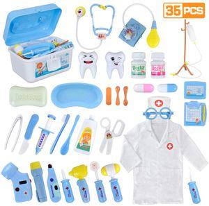 Arztkoffer Kinder 35 Teile Rollenspiele Arzt Zahnarzt Spielzeug Doktorkoffer Geschenke mit Arztkittel für Jungen Mädchen