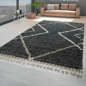 Hochflor Teppich Grau Anthrazit Wohnzimmer Shaggy Skandinavische Rauten Fransen, Größe:160x220 cm