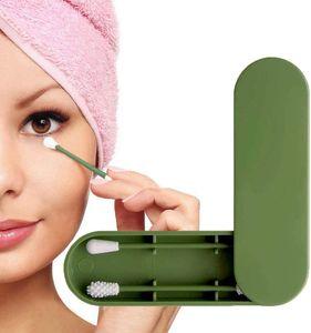 Wiederverwendbarer Wattestäbchen, Doppelseitiger Umweltfreundlicher Wattestäbchen-Ohrreinigungsstäbchen-Kosmetikstäbchen mit Aufbewahrungsetui (Grün)