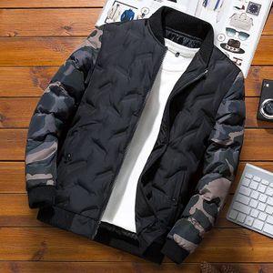 Herren Winter Tarnung Daunen Baumwolle Baseballjacke Mantel Reißverschluss Mantel,Farbe: Schwarz,Größe:XL