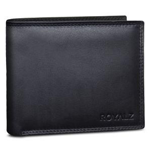 ROYALZ Echt Leder Vintage Herren Brieftasche 9 Kartenfächer klassisches Trifold Design, Farbe:Schwarz