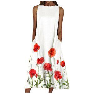 Damen Sommer Rundhalsausschnitt Ärmelloses Scenic Floral Printed Pocket Dress Farbe:Rot,Größe:XXL