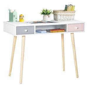 HOMCOM Kinder Schreibtisch mit Schublade mehrfarbig Kindertisch mit Kieferfischbeine 100 x 48 x 76,5 cm
