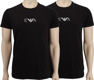 Emporio Armani 2P Rundhals T Shirts mit Logo     2x schwarz black/LOGO weiß     L