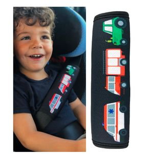 HECKBO® - 1x Auto Gurtschutz mit Feuerwehr, Traktor, Krankenwagen Motiv - für Kinder, Jungen, Jungs - Sicherheitsgurt Schulterpolster Schulterkissen Autositze Gurtpolster - auch für Fahrrad-Sitze