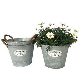 """3 runde Blumentöpfe, Eimer aus Zink und Schriftzug """"Flowers & Garden"""" - Garten Blumentopf Set P21"""