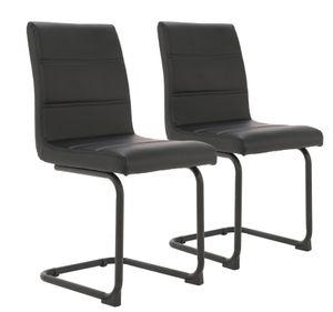 2er Set Esszimmerstuhl Freischwinger Schwingstuhl Bürostuhl Polsterstuhl mit Metallbeine Schwarz