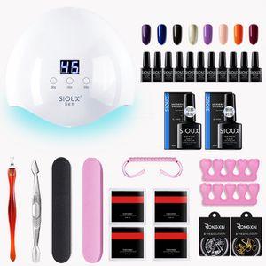Gel Nagellack Maniküre-Sets mit 36W UV LED Lampe, 8 * 10 ml UV LED Gel Nagellack, Deck und Basislack, Maniküre Werkzeugset, Nagelstudio Set