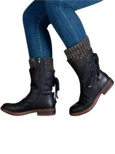 Damen Stiefel in der Mitte der Wade Martin Stiefel mit runden Zehen Schnürsenkeln,Farbe: Schwarz,Größe:42