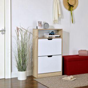 VASAGLE Schuhschrank mit 2 Klappen | Schuhregal mit Zusatzfach | 102 x 60 x 24 cm Schuh-Organizer Schuhaufbewahrung Weiß-Natur LBC04NW