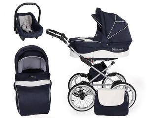 Retro Kinderwagen Kombikinderwagen Set + Zubehör Farbauswahl Romantic Grey by ChillyKids Marine Jeans 05 2in1 ohne Babyschale
