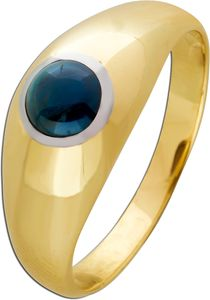 Klassischer Bandring blauen Saphir Gelbgold 585 Edelsteinschmuck   20