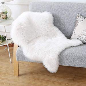 Schaffell Teppich Weiß Kunstfell teppiche Lammfellimitat Wollteppich Longhair Bettvorleger Sofa Matte Fellimitat Fellteppich