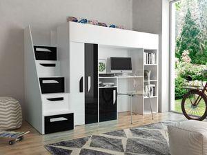 JOY 14 Hochbett Multifunktionsbett Kleiderschrank Schreibtisch Regal Weiß/Schwarz 90x200