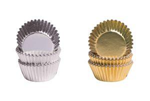 Demmler Pralinenförmchen Set - je 75 silberne & goldene Pralinenkapsel - 150 Stück