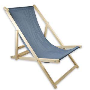 Liegestuhl Strandliege Sonnenliege Holz Garten Liege Klapp 120 kg - Grau