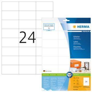 Etiketten Premium A4, weiß 70x37 mm Papier matt 240 St.
