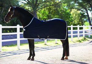 """Horseware Amigo Jersey abnehmbare Kreuzgurte Microfaser Abschwitzdecke marineblau/silber 145cm 6'6"""""""