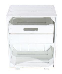 Weißer Nachttisch mit Schublade 30,5cm x 40cm x 54cm Nachtschrank Tisch Regalkiste Apfelkiste Weinkisten Obstkisten weiss Tisch Ablage Landhaus DIY klassisch
