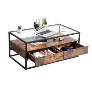 VASAGLE Couchtisch mit 2 Schubladen Glastisch 106 x 57 x 45 cm gehärtetes Glas im Industrie Design Sofatisch stabil Vintage LCT31BX