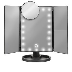 Schminkspiegel Beleuchtet Kosmetikspiegel mit 22 LED Licht,Tischspiegel mit Beleuchtung 2X 3X Vergrößerungsspiegel Schwarz 7870