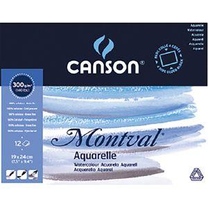 "CANSON Aquarellblock ""Montval"" rundum geleimt 190 x 240 mm 12 Blatt"