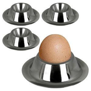 Eierbecher 4 Stück Eierhalter Edelstahl Eierständer Set Egg Cups Eier Becher Ei Halter