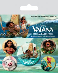 Vaiana Button Pack - Vaiana Characters, 1 X 38mm & 4 X 25mm Buttons (15 x 10 cm)