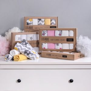 LULANDO Stoffwindeln und Moltontücher 70x80cm (5er Set). Waschbare Windeln und Spucktücher für Ihr Baby., Farbe:Elephants (White)