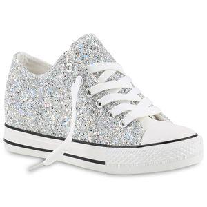 Mytrendshoe Damen Sneakers Keilabsatz Sneaker-Wedges Glitzer Metallic Schuhe 816721, Farbe: Silber, Größe: 39