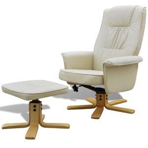 dereoir Sessel mit Fußhocker Creme Kunstleder