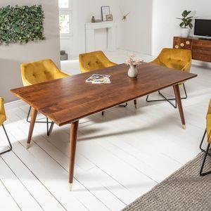Massiver Esstisch MYSTIC LIVING 160cm braun gold Akazienholz im Retro Design Küchentisch Esszimmertisch