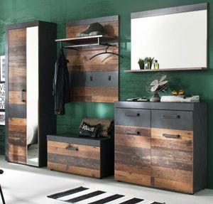 Garderobe Indy komplett Set 5-teilig Old Wood Shabby mit Matera grau Garderobenset mit Schuh- / Garderobenschrank 265 x 192 cm