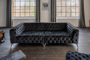 Big Sofa Chesterfield versch. Farben mit o. ohne Hocker KAWOLA schwarz ohne Hocker NARLA