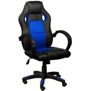 Chefsessel Bürostuhl Gamingstuhl Schreibtischstuhl, Farbe:Schwarz/Blau