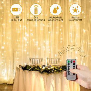SUNNEST Led lichterkette Lichtervorhang Deko Vorhanglichtermit 300 LED 8 Lichtmodi USB Lichterkette Beleuchtung für Weihnachten-IP68 Warmweiß