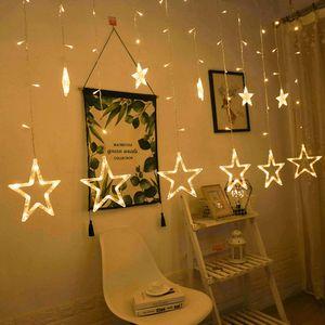 led Lichterkette 12 Sternenvorhang led Lichtervorhang Weihnachten warmweiß 8 Modi dimmbar