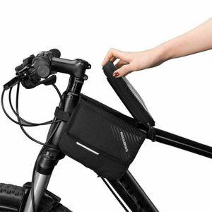 ROCKBROS Rahmentasche Fahrradtasche Oberrohrtasche für Handy 6,0 Zoll Schwarz