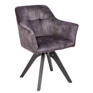 Drehbarer Design Stuhl LOFT dunkel grau Samt Retrostil mit Ziersteppung Esszimmerstuhl Armlehnstuhl