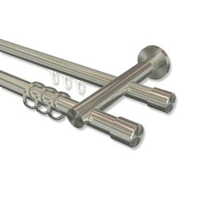 Interdeco Rundrohr-Innenlaufstange, Gardinenstange (Kombination) Edelstahl-Optik Modell Platon Santo, 20 mm Ø 2-läufig, 280 cm (geteilt)