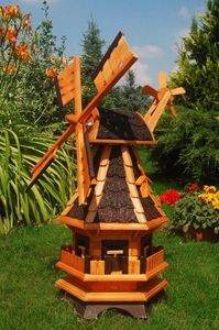 Gartenwindmühle mit dunkeln Schindeln– Höhe 1 Meter