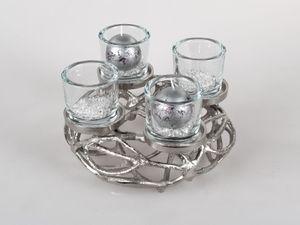 Adventskranz Leuchter Geflochten für 4 Kerzen D. 30cm Alu + Glas